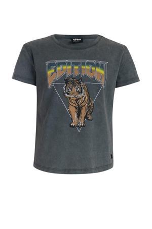 T-shirt met printopdruk grijs/bruin/zwart