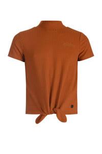 JILL MITCH ribgebreid T-shirt bruin, Bruin