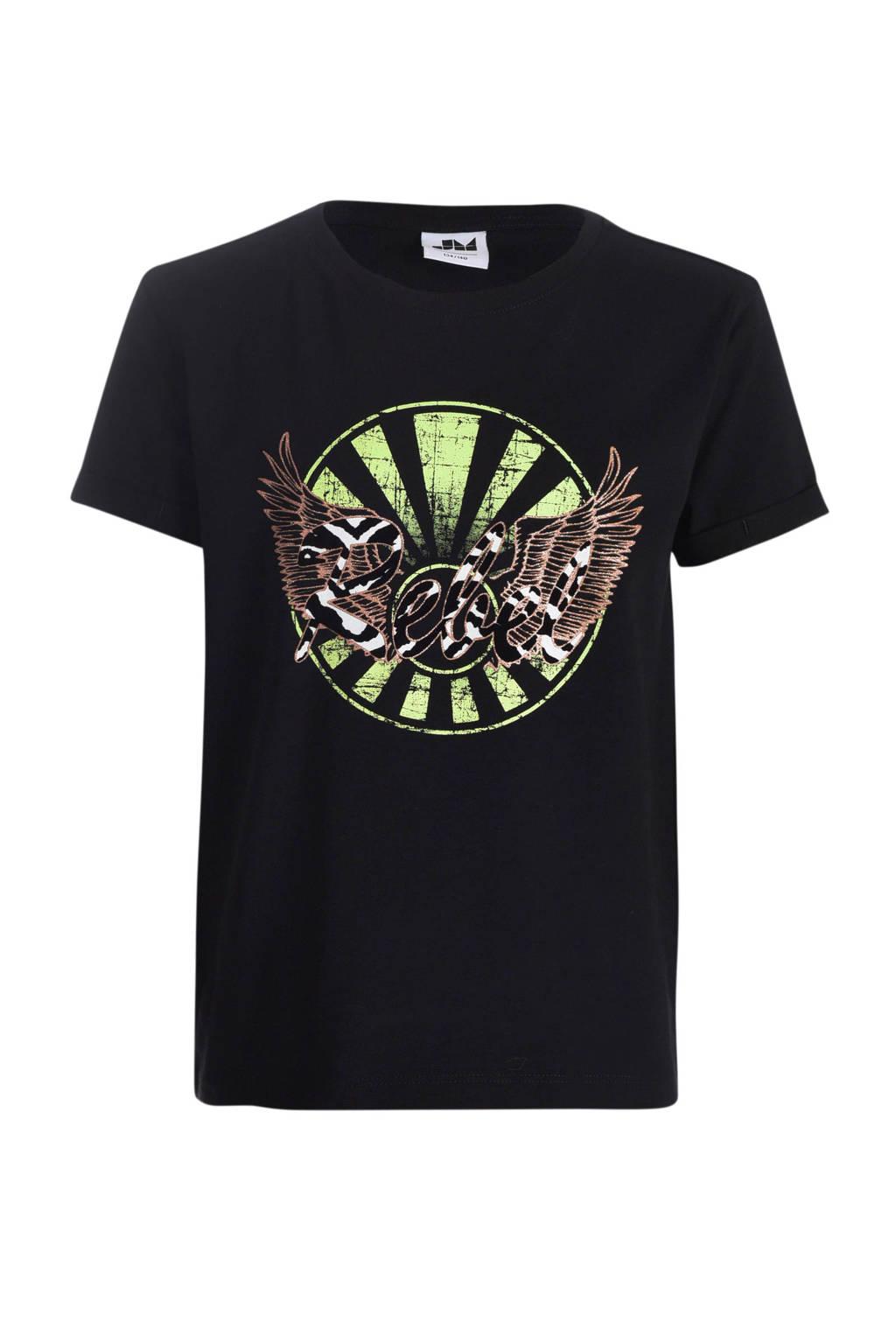 Jill T-shirt Tirsa met printopdruk zwart, Zwart