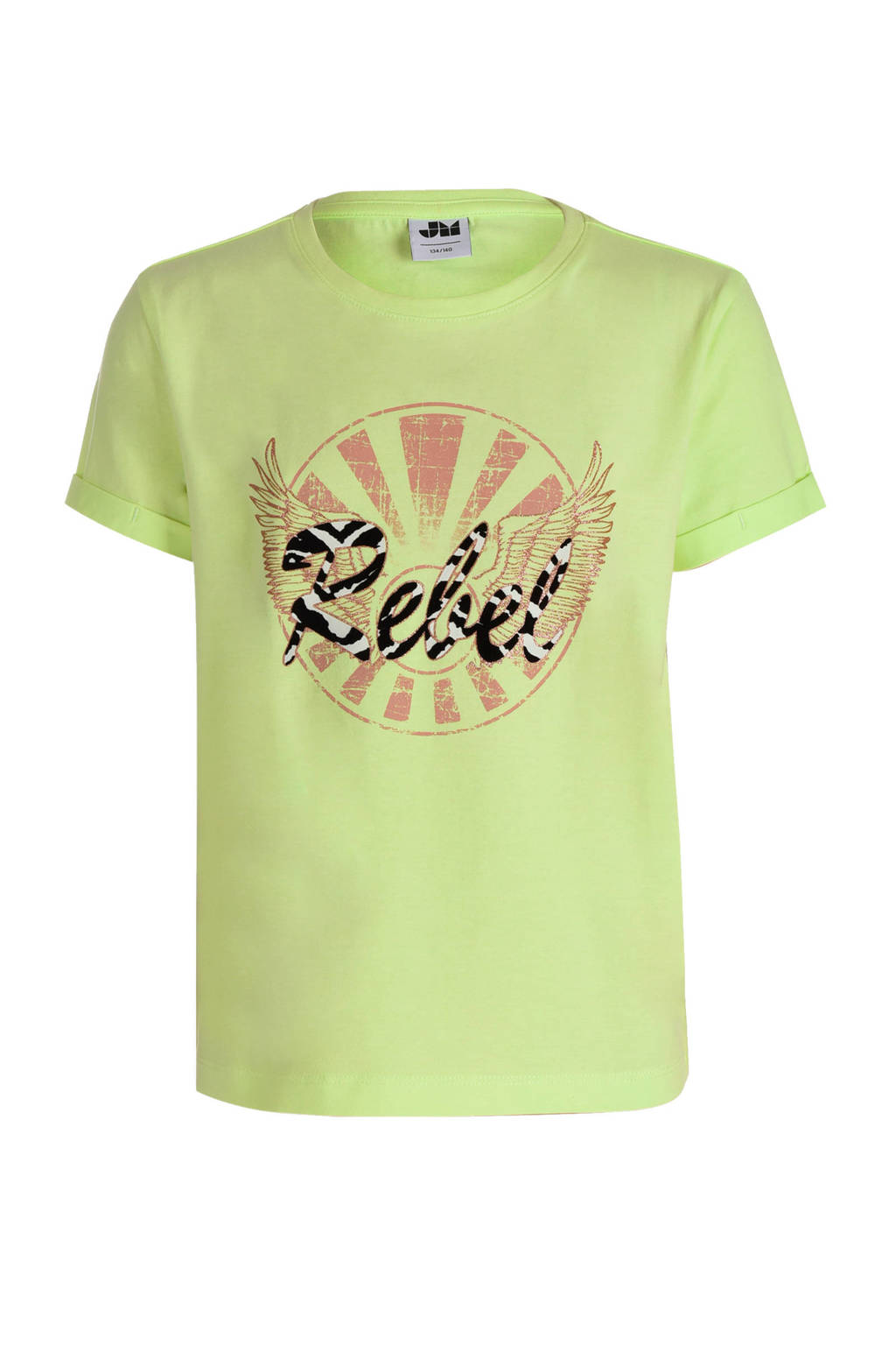 Jill T-shirt Tirsa met printopdruk geel, Geel