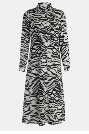 semi-transparante blousejurk met zebraprint zwart/wit