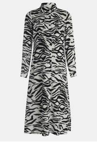 JILL MITCH semi-transparante blousejurk met zebraprint zwart/wit, Zwart/wit