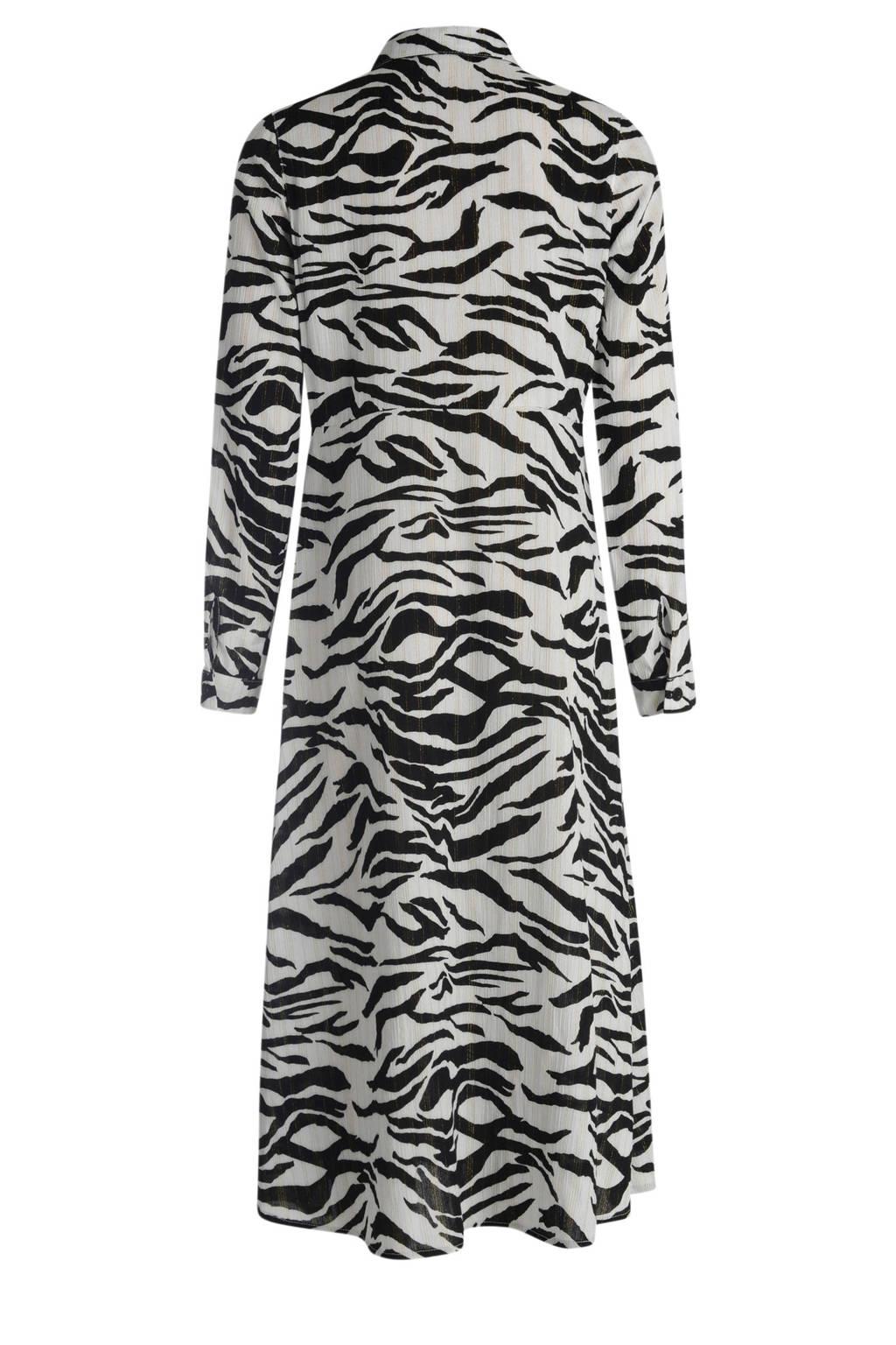 Jill & Mitch by Shoeby semi-transparante blousejurk met zebraprint zwart/wit, Zwart/wit