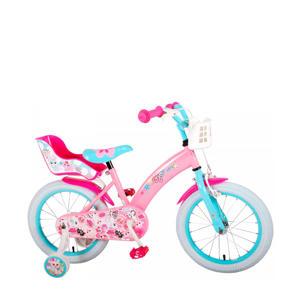 kinderfiets 16 inch Roze/blauw 16 inch kinderfiets