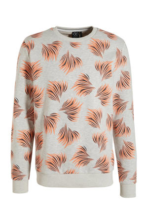 sweater met all over print grijs melange