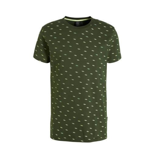 Kultivate T-shirt met all over print donkergroen