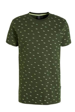T-shirt met all over print donkergroen