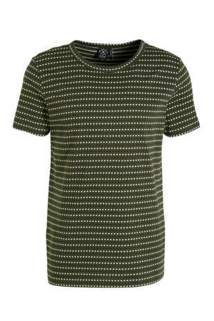 gestreept T-shirt donkergroen