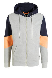 Kultivate sweatvest grijs melange/zwart/oranje, Grijs melange/zwart/oranje