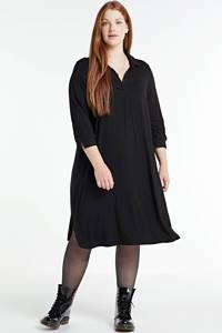 Zhenzi jurk GIRO 530 met plooien zwart, Zwart