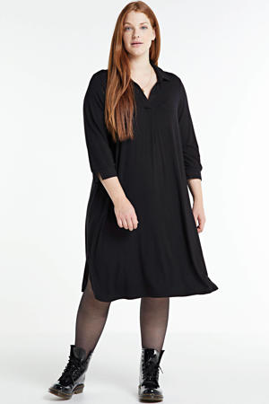 jurk GIRO 530 met plooien zwart