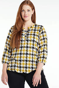 Zhenzi geruit T-shirt INTI 538 mustard/0204, Geel/wit/zwart