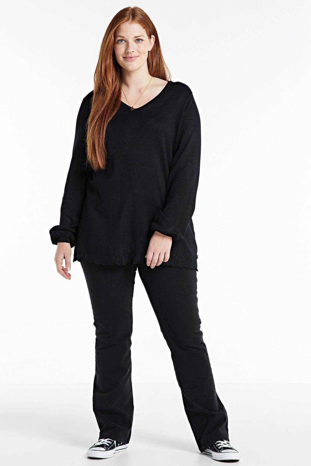 Zhenzi fijngebreide trui KOGLE 510 zwart, Zwart