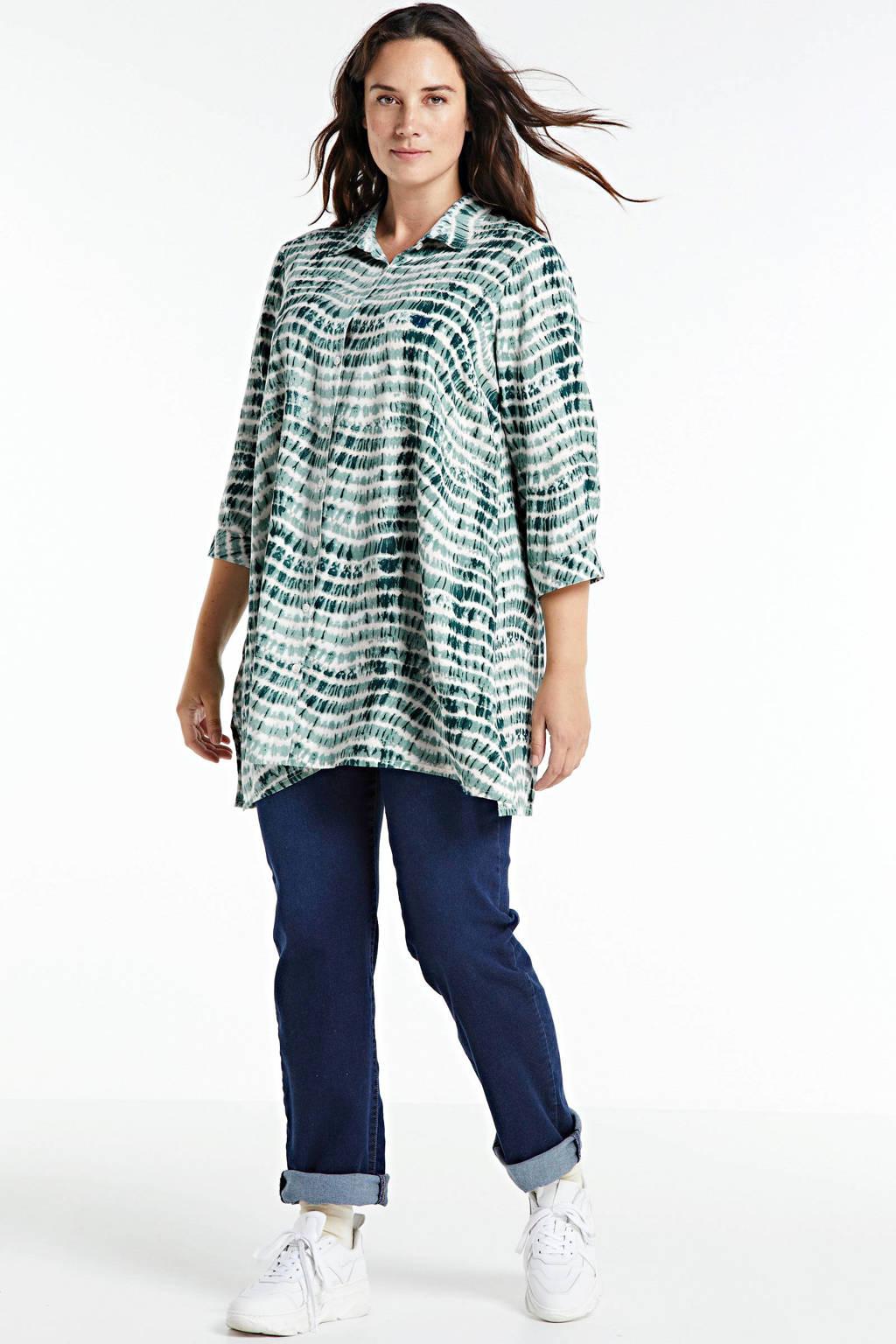 Zhenzi tie-dye blouse KRUS 545, Lichtblauw/donkerblauw/wit