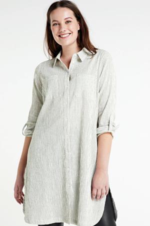gestreepte blousejurk ecru/zwart