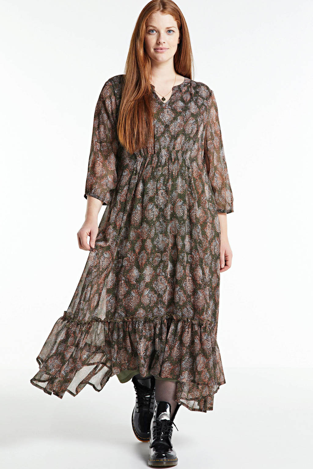 Zhenzi semi-transparante jurk TAKA 587, bruin/rood/wit