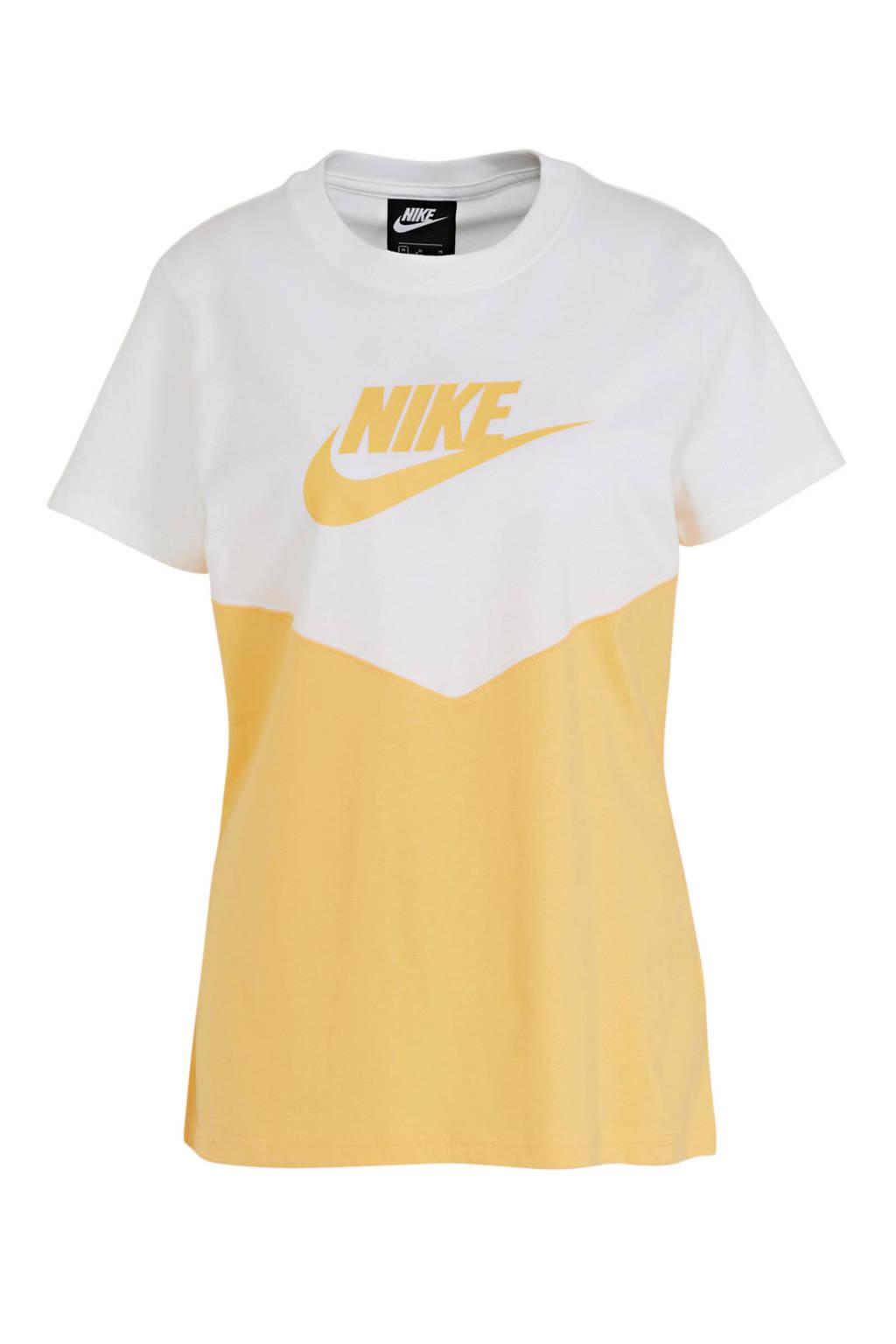 Nike T-shirt met printopdruk wit/geel, Wit/geel
