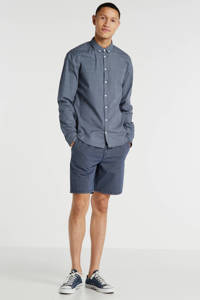 Blend slim fit overhemd met all over print, Blauw
