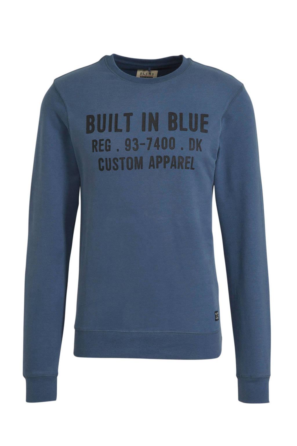 Blend sweater met logo grijsblauw, Grijsblauw