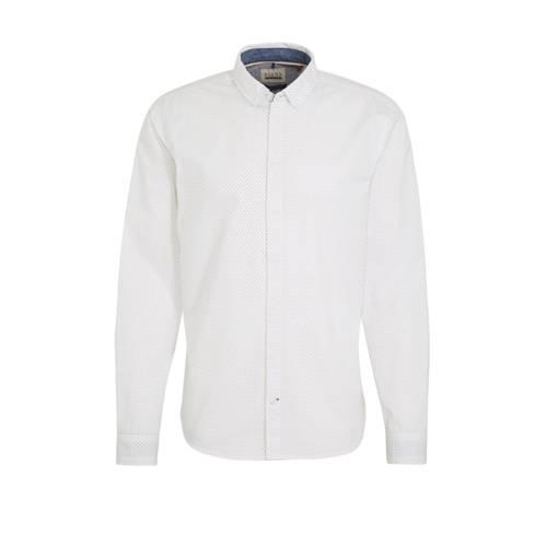 Blend slim fit overhemd met all over print wit