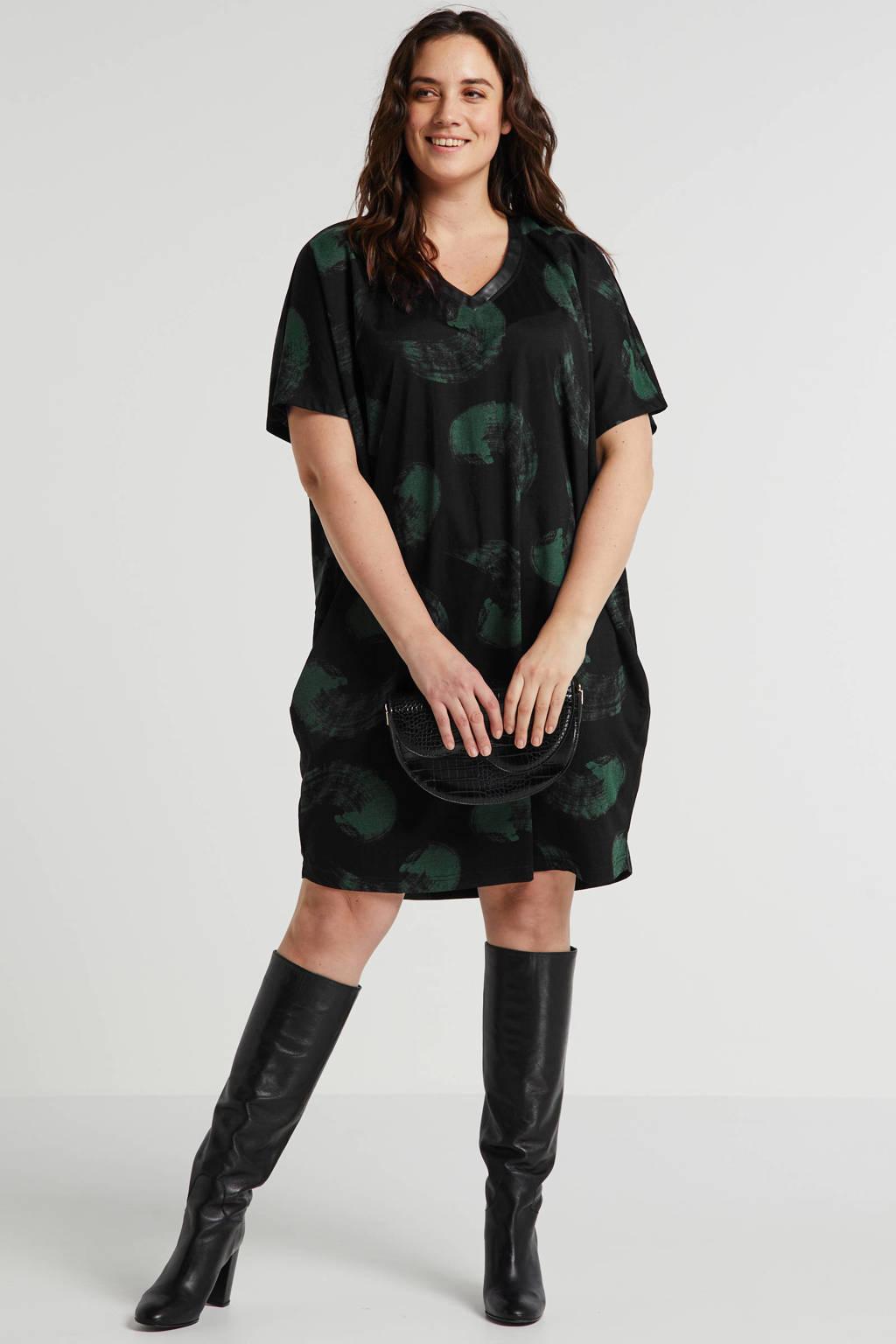 STUDIO jersey jurk Dress met all over print zwart, Zwart