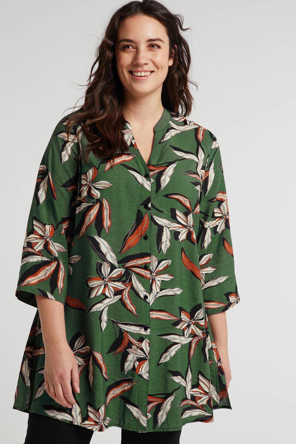 STUDIO blouse met all over print groen, Groen