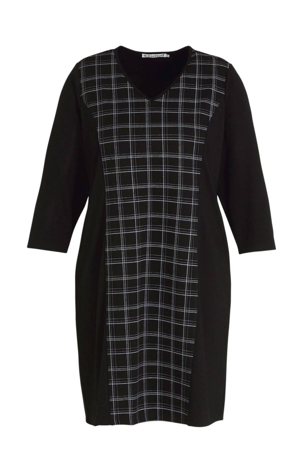 STUDIO geruite jurk Dress zwart, Zwart