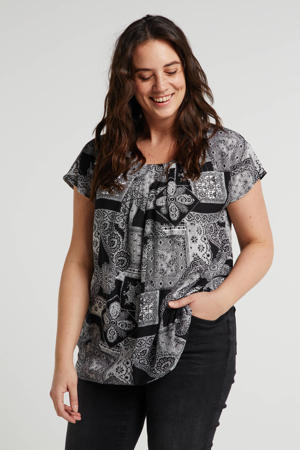 top Top met all over print zwart