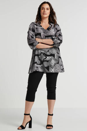 top Blouse met all over print zwart