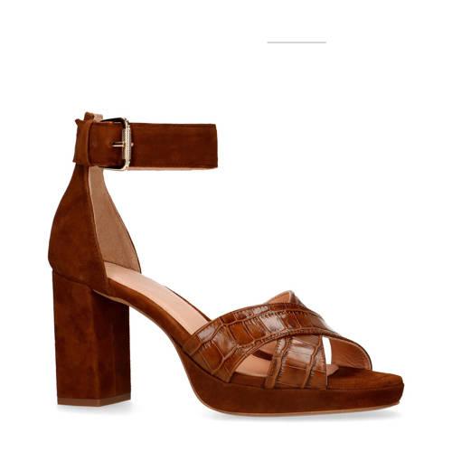 Manfield leren sandalettes bruin