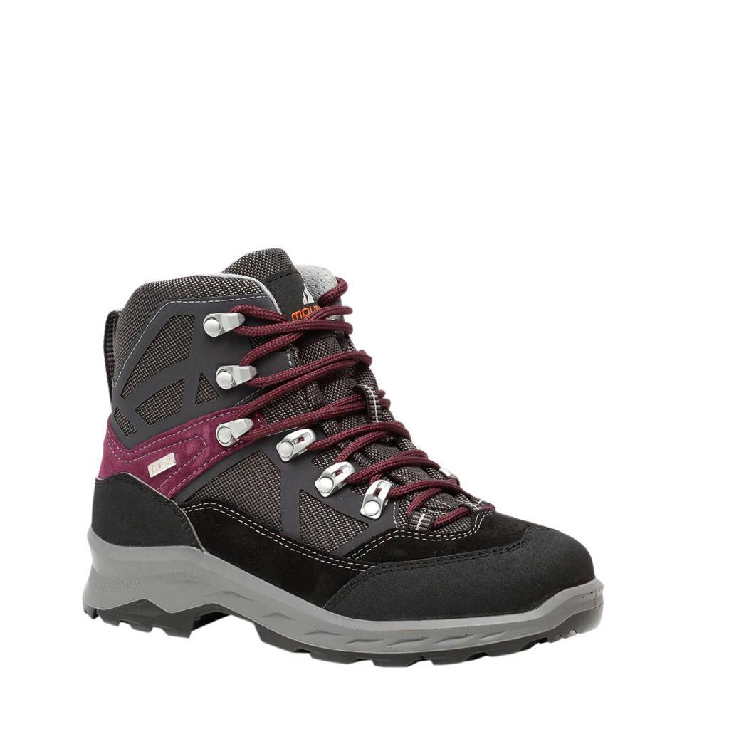 Scapino Mountain Peak   leren wandelschoenen zwart, Zwart/rood