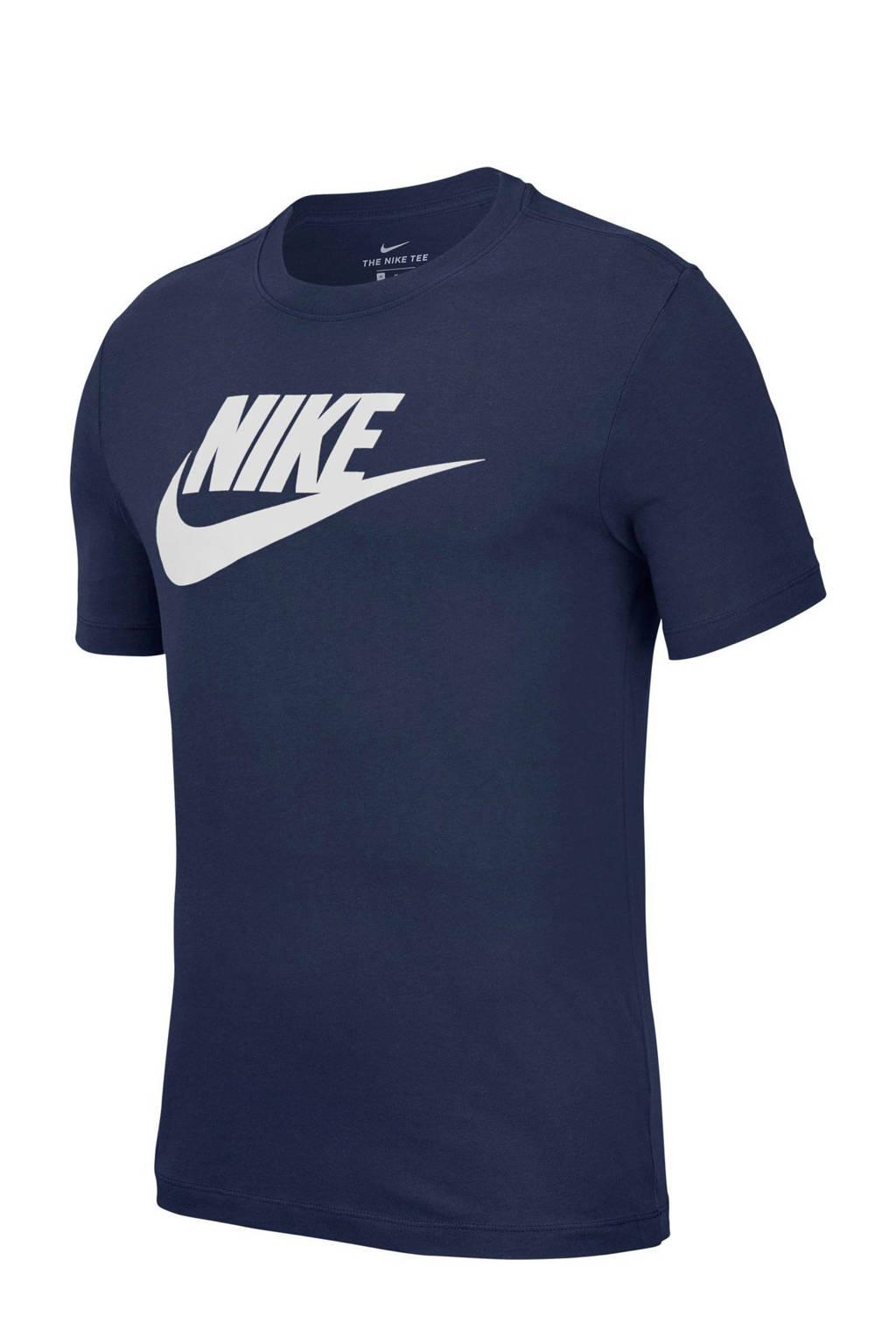 Nike T-shirt donkerblauw, Donkerblauw/wit