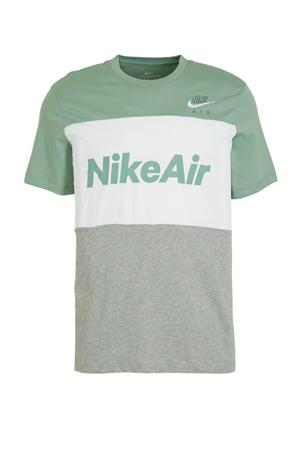 T-shirt lichtgroen/wit/grijs