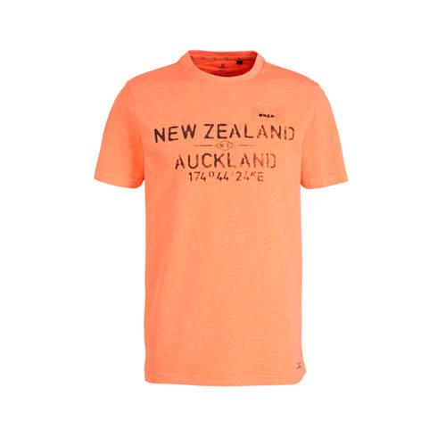 New Zealand Auckland T-shirt met tekst oranje