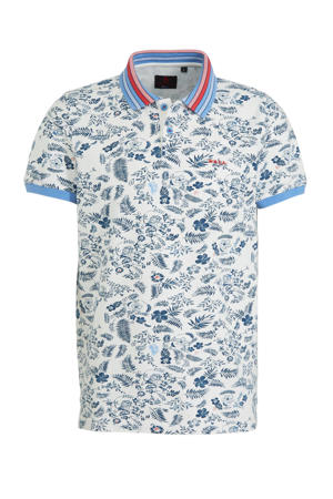 regular fit polo Taupo met all over print ecru