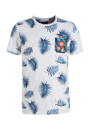 T-shirt met all over print grijsblauw