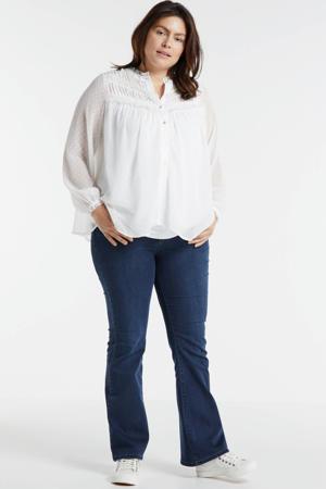 semi-transparante blouse Juliette  met stippen en kant wit