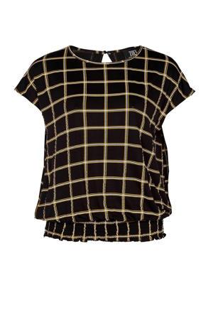 geruit T-shirt Kendahll  zwart/geel/wit