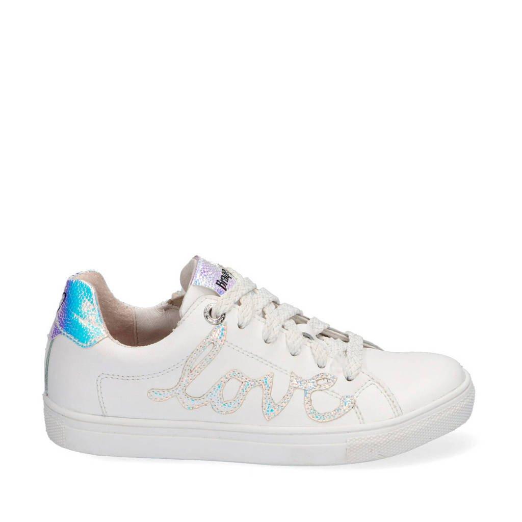 Braqeez Leigh Louwies  leren sneakers wit/metallic