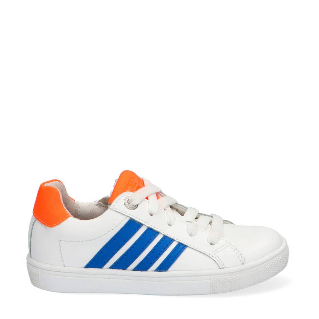 Braqeez Lesley Louwies  leren sneakers wit/blauw/oranje, Wit/blauw/oranje