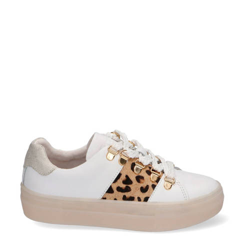 Braqeez Demi Dream leren sneakers wit/panterprint
