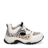Braqeez Bibi Bale  leren chunky sneakers wit/goud, Wit/Dierenprint