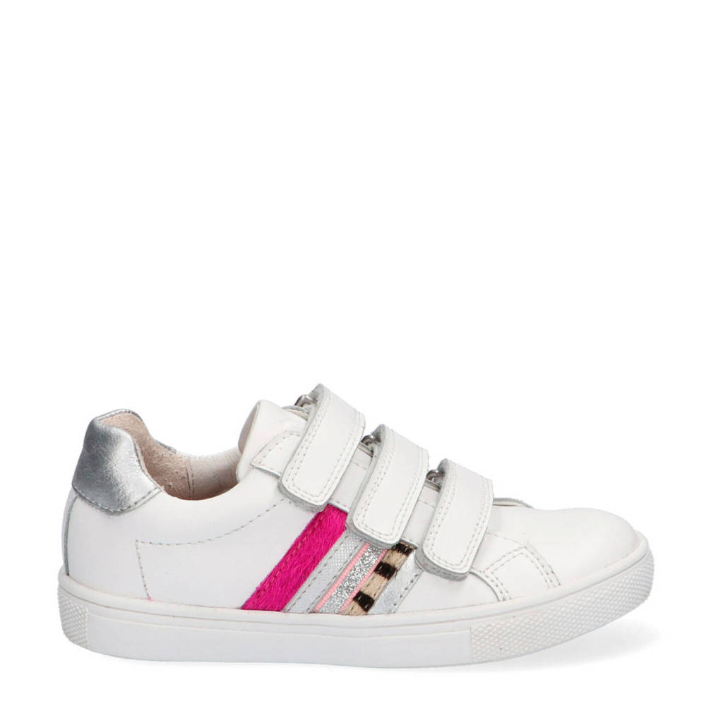 Braqeez Lotte Louwies  leren sneakers wit/roze, Wit/multi