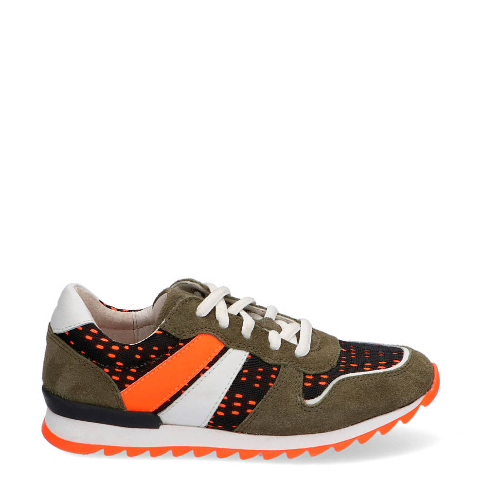 Braqeez Tom Tosca  suède sneakers groen, Groen/oranje