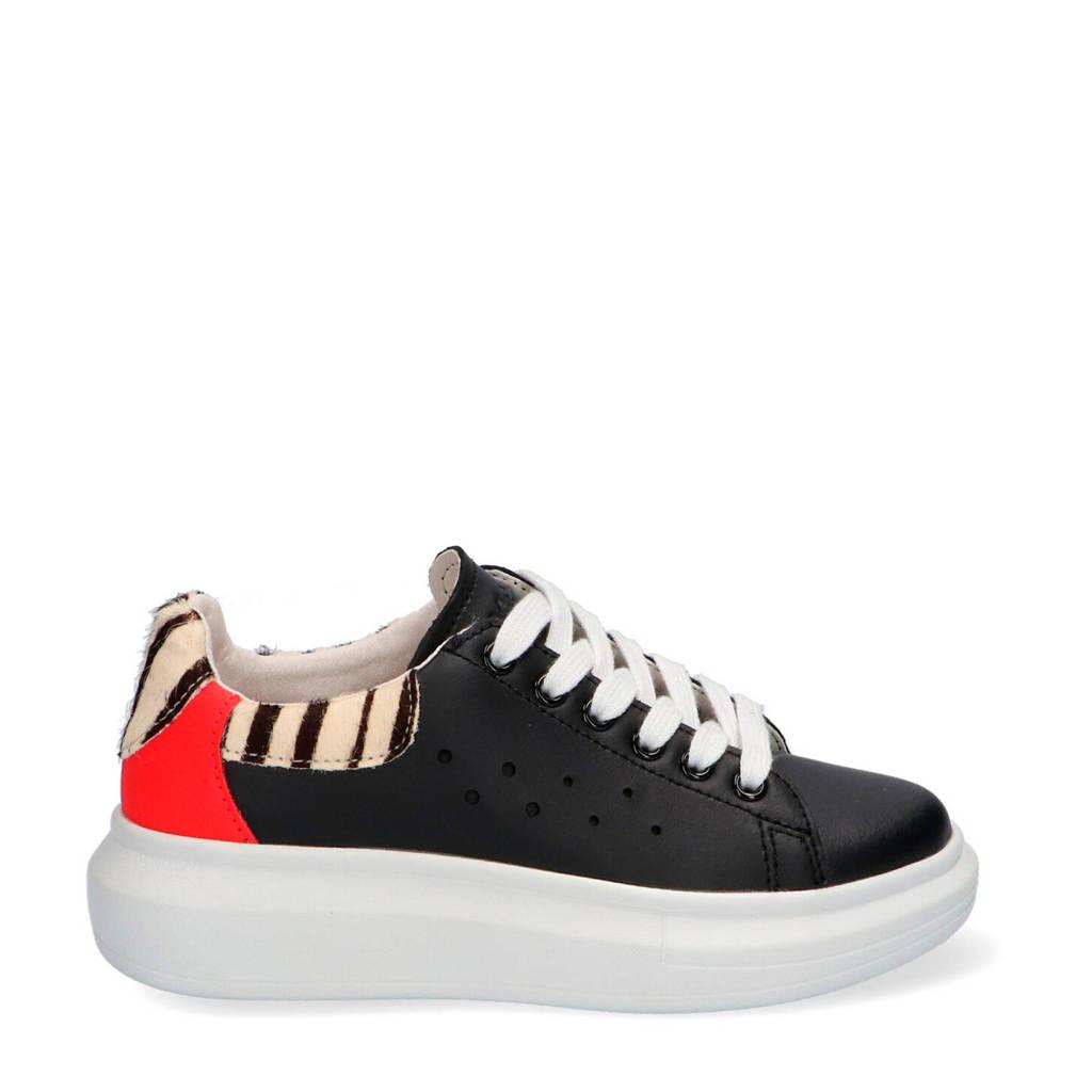 Braqeez Alba Alex  leren sneakers zwart/zebraprint, Zwart/multi