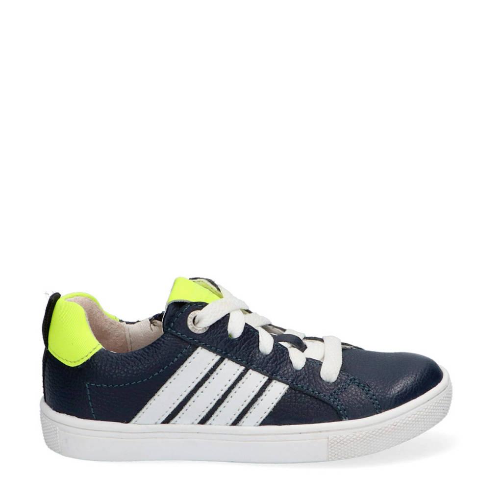 Braqeez Lesley Louwies  leren sneakers blauw, Blauw/wit/geel