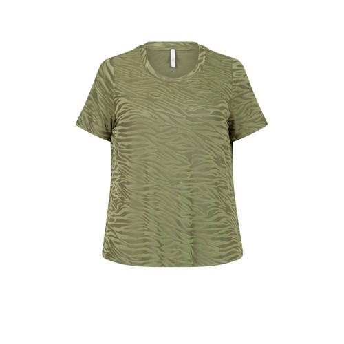 Miss Etam Plus T-shirt met zebraprint groen