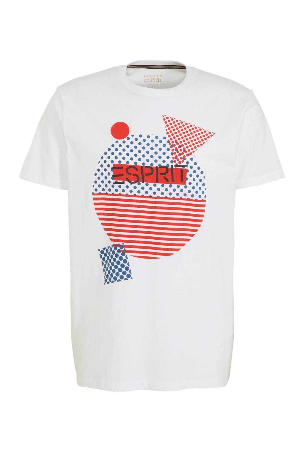 ESPRIT Men Casual T-shirt met printopdruk wit, Wit