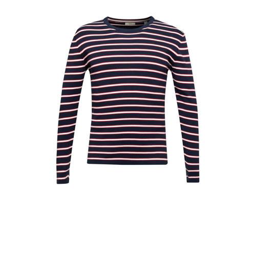 ESPRIT Men Casual gestreepte sweater blauw