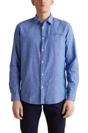 slim fit overhemd met stippen blauw